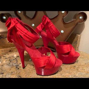 New Pleaser Red Satin Heels